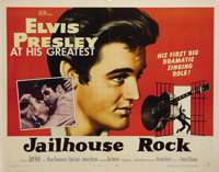 "Jailhouse Rock (MGM, 1957). Half Sheet (22"" X 28""). This Elvis Presley poster shows minor fold wear from old f..."