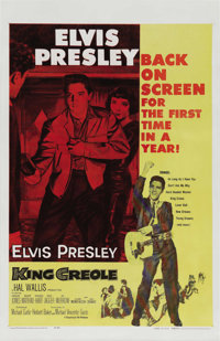 """King Creole (Paramount, R-1959). One Sheet (27"""" X 41""""). As Elvis had been away for over a year serving his sti..."""