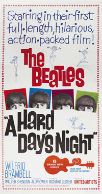 "A Hard Day's Night (United Artists, 1964). Three Sheet (41"" X 81""). This madcap look inside the insanity that..."