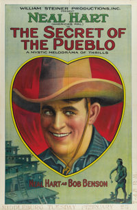 """The Secret of the Pueblo (William Steiner, 1923). One Sheet (27"""" X 41""""). Neal Hart directed and stars in this..."""