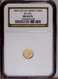California Fractional Gold: , 1859 50C Liberty Octagonal 50 Cents, BG-901, High R.6, MS65 NGC.PCGS Population (1/0). (#10759)...