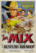 "Movie Posters:Western, The Rustler's Roundup (Universal, 1933). One Sheet (27"" X 41""). The Tom Mix era at Universal Studios was brief but spectacul..."