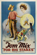 "Movie Posters:Western, For Big Stakes (Fox, 1922). One Sheet (27"" X 41""). Western star TomMix portrays ""Clean-Up"" Sudden, a drifter restoring law ..."