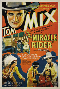 "The Miracle Rider (Mascot, 1935). One Sheet (27"" X 41""). The great Tom Mix stars as a Texas Ranger out to aven..."