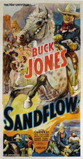 "Movie Posters:Western, Sandflow (Universal, 1937). Three Sheet (41"" X 81""). Buck Jones rides to the rescue in this spectacular three sheet from the..."