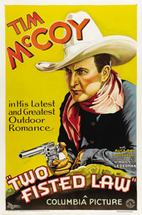 """Two Fisted Law (Columbia, 1932). One Sheet (27"""" X 41"""").Tim McCoy is featured on this, one of his rarest one sh..."""