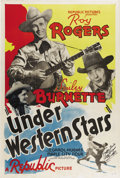 "Movie Posters:Western, Under Western Stars (Republic, 1938). One Sheet (27"" X 41""). In1938 after appearing in more than a dozen Westerns under suc..."