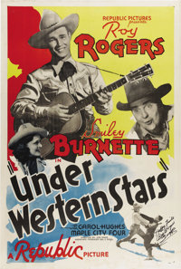 "Under Western Stars (Republic, 1938). One Sheet (27"" X 41""). In 1938 after appearing in more than a dozen West..."
