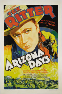 "Arizona Days (Grand National, 1937). One Sheet (27"" X 41""). Tex Ritter was one of the crooning cowboys, follow..."
