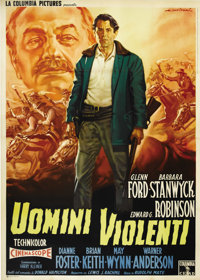"The Violent Men (Columbia, R-1959). Italian 4-Folio (55"" X 78""). Glenn Ford is a small rancher who's being squ..."