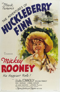 "The Adventures of Huckleberry Finn (MGM, 1939). One Sheet (27"" X 41""). Mickey Rooney stars in this adaptation..."