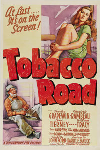 "Tobacco Road (20th Century Fox, 1941). One Sheet (27"" X 41""). John Ford's film, based on Erskine Caldwell's no..."