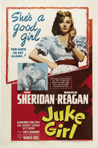 "Juke Girl (Warner Brothers, 1942). One Sheet (27"" X 41""). Juke joint girl Ann Sheridan falls for Ronald Reagan..."