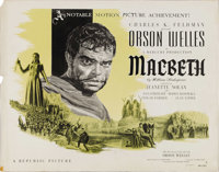 "Macbeth (Republic, 1948). Half Sheet (22"" X 28""). Style A. +This version of William Shakespeare's classic play..."