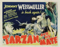 "Movie Posters:Action, Tarzan and His Mate (MGM, 1934). Half Sheet (22"" X 28""). It was thesecond film in the immensely popular Tarzan series with ..."