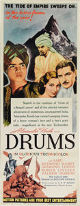 "Movie Posters:Adventure, Drums (United Artists, 1938). Insert (14"" X 36""). Having beenfolded at some point in its history, this paper-backed insert ..."