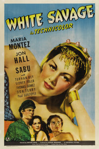 "White Savage (Universal, 1943) One Sheet (27"" X 41""). Gorgeous shot of the lovely Maria Montez who plays a pri..."