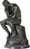 Bronze:European, After Auguste Rodin (French, 1840-1917). The Thinker. Bronzewith greenish patina. 29-1/2 inches (74.9 cm) high on a 1-1...