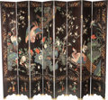 Asian:Chinese, A Large Chinese Eight-Panel Lacquered Screen, 20th century. 96 x 69 x 0-3/4 inches (243.8 x 175.3 x 1.9 cm) (one fully exten... (Total: 2 Items)