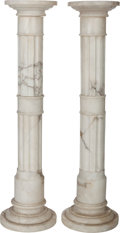Decorative Arts, Continental:Other , A Pair of White Marble Pedestals, 20th century. 42-3/4 inches tallx 10 inches diameter (widest) (108.6 x 25.4 cm). PROPER... (Total:2 Items)