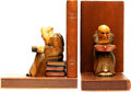 Books:Furniture & Accessories, [Bookends]. Matching Pair of Wooden Hand-Carved Reading Monks. Ca.1950.... (Total: 2 Items)