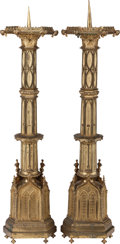 Decorative Arts, Continental:Other , A Pair of Italian Gothic Revival Gilt Brass Prickets, 20th century.34 inches high (86.4 cm). PROPERTY FROM THE ESTATE OF ... (Total: 2Items)