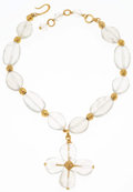 """Luxury Accessories:Accessories, Chanel Crackled Glass Clover Necklace with Gold Hardware. VeryGood Condition. 2.5"""" Width x 14"""" Length. ..."""