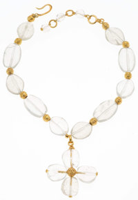 "Chanel Crackled Glass Clover Necklace with Gold Hardware Very Good Condition 2.5"" Width x 14"" Length"