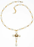 "Luxury Accessories:Accessories, Chanel Gold & Glass Pearl Cross Necklace. Very GoodCondition. 2.5"" Width x 20"" Length. ..."