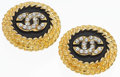 "Luxury Accessories:Accessories, Chanel Gold & Black Enamel CC Earrings. Excellent Condition.1.5"" Width x 1.5"" Length. ..."