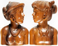 Books:Furniture & Accessories, [Bookends]. Pair of Wooden Hand-Carved Native Peoples. Ca. 1950....(Total: 2 Items)