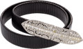 "Luxury Accessories:Accessories, Judith Leiber Black Metal & Silver Crystal Belt. Good toVery Good Condition. 1"" Width x 32"" Length. ..."
