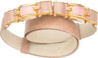 "Judith Leiber Pink Lizard Belt Very Good Condition 1"" Width x 36"" Length"