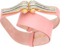 "Luxury Accessories:Accessories, Judith Leiber Pink Lizard Belt with Crystal Buckle. Very Good toExcellent Condition. 1.5"" Width x 36"" Length. ..."