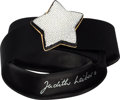 "Luxury Accessories:Accessories, Judith Leiber Black Satin & Crystal Star Belt. Very GoodCondition. 1.5"" Width x 36"" Length. ..."