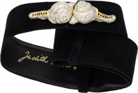 "Judith Leiber Black Suede Belt with Crystal Snail Buckle Very Good Condition 2"" Width x 36"" Lengt"