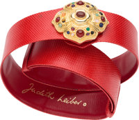 "Judith Leiber Red Lizard Belt with Jeweled Buckle Excellent Condition 1.5"" Width x 36"" Length"