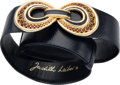 "Luxury Accessories:Accessories, Judith Leiber Navy Lizard Belt with Jeweled Buckle. ExcellentCondition. 1.75"" Width x 36"" Length. ..."