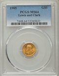 Commemorative Gold, 1905 G$1 Lewis and Clark Gold Dollar MS64 PCGS. PCGS Population:(711/342). NGC Census: (400/178). CDN: $2,525 Whsle. Bid f...
