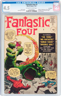 Silver Age (1956-1969):Superhero, Fantastic Four #1 UK Edition (Marvel, 1961) CGC VG+ 4.5 Off-whiteto white pages....
