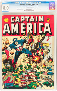 Captain America Comics #33 Chicago Pedigree (Timely, 1943) CGC VF 8.0 Off-white to white pages