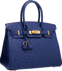 Hermes 30cm Blue Iris Ostrich Birkin Bag with Gold Hardware T, 2015 Pristine Condition