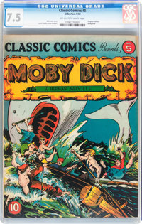 Classic Comics #5 Moby Dick - Original Edition (Gilberton, 1942) CGC VF- 7.5 Off-white to white pages