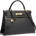 Luxury Accessories:Bags, Hermes 32cm Black Evergrain Leather Retourne Kelly Bag with GoldHardware. B Square, 1999. Very Good to ExcellentCond...
