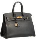 "Luxury Accessories:Bags, Hermes 35cm Black Ardennes Leather Birkin Bag with Gold Hardware.F Square, 2002. Excellent Condition. 14"" Widthx..."