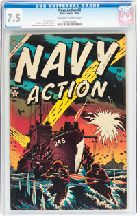 Navy Action #2 (Atlas, 1954) CGC VF- 7.5 Off-white to white pages
