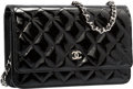 "Luxury Accessories:Bags, Chanel Black Quilted Patent Leather Wallet on Chain Bag with SilverHardware. Pristine Condition. 7.5"" Width x 5"" Heig..."