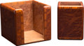 """Luxury Accessories:Home, Hermes Set of Two; Brown Lacquered Wood Desk Set. Very GoodCondition. Note Holder: 4"""" Width x 4"""" Height x 4""""Depth... (Total: 2 )"""