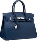 "Luxury Accessories:Bags, Hermes 30cm Blue Saphir Epsom Leather Birkin Bag with PalladiumHardware. O Square, 2011. Excellent Condition.12""..."