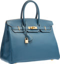 "Luxury Accessories:Bags, Hermes 35cm Blue Thalassa Clemence Leather Birkin Bag with Gold Hardware. G Square, 2003. Very Good Condition. 14""..."